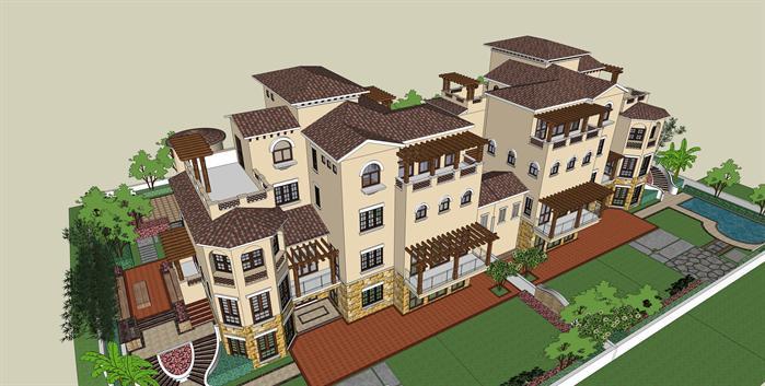 某地中海风格的别墅建筑方案设计SU模型图片