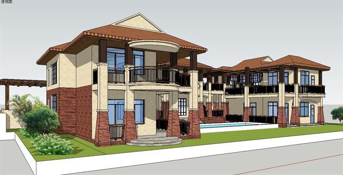 三亚度假大别墅建筑设计su模型2
