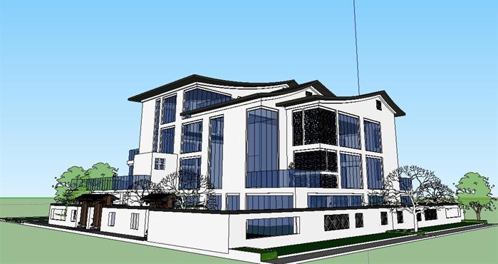 某新中式坡屋顶别墅建筑方案设计su模型-设计师图库