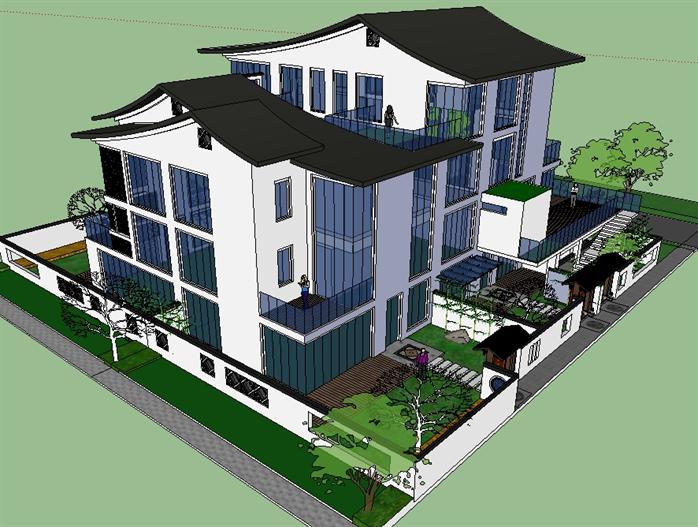 某新中式坡屋顶别墅建筑方案设计su模型[原创]
