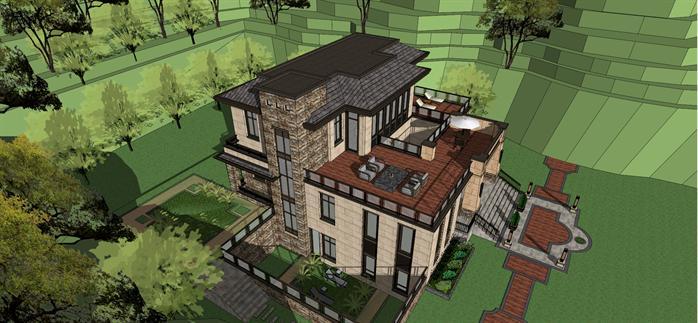 谷地豪宅别墅建筑方案设计su模型视角3
