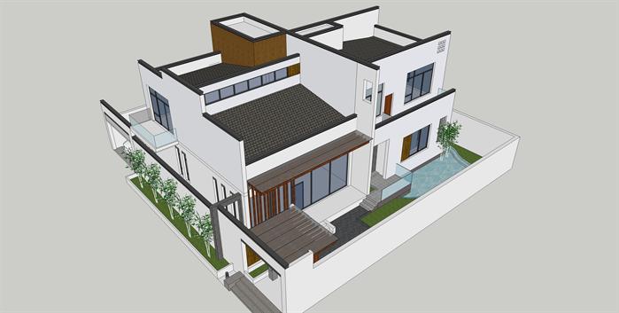 某新中式别墅建筑方案设计su模型(带部分cad施工图)