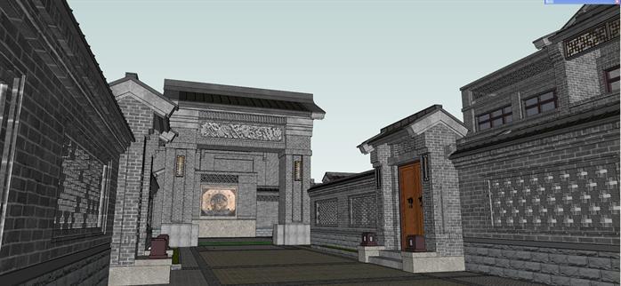 某新中式风格别墅院落群建筑方案设计su模型[原创]图片