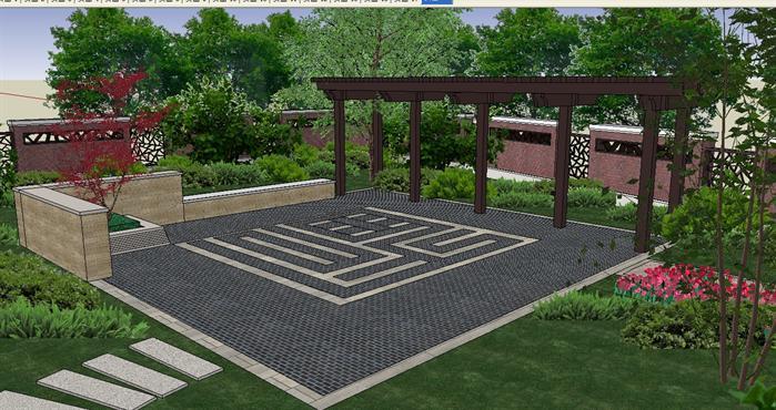 庭院景观设计方案SU模型