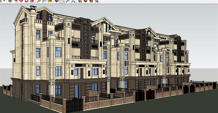 欧式平房建筑一层一层平房设计图  社区效果图源文件__室外模型_3d