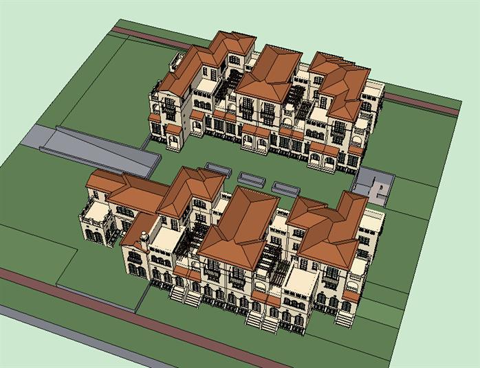 某地中海风格别墅建筑方案设计SU模型图片
