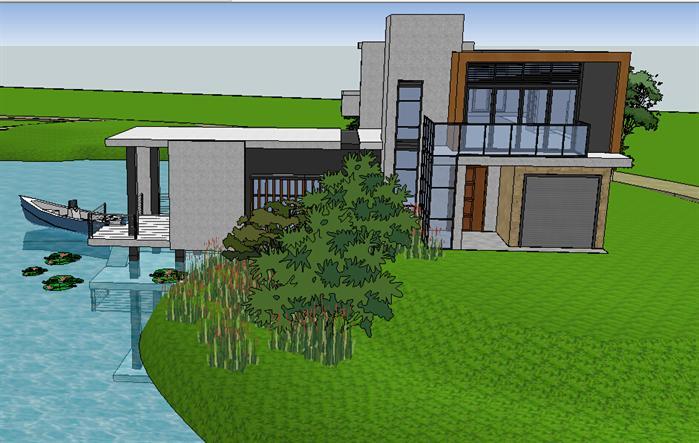 现代风格临湖别墅建筑设计方案SU模型