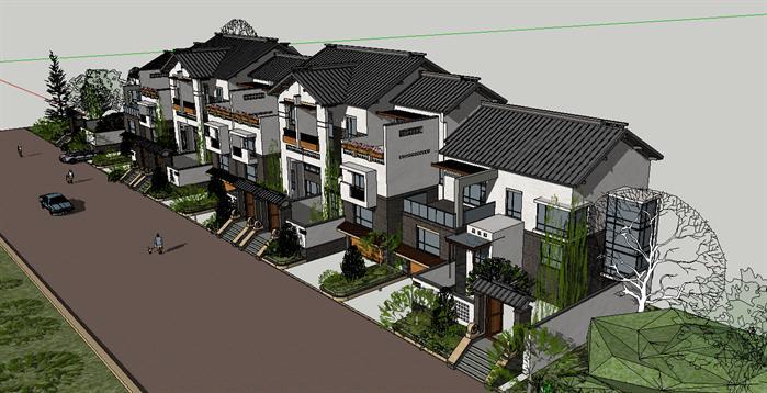 中式住宅建筑设计方案su模型效果图(1)