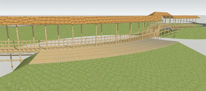 茅草长廊设计小品SU模型2