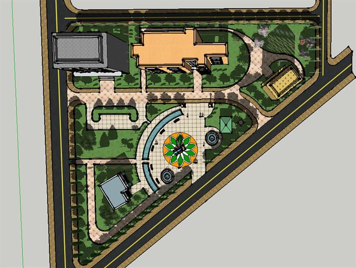 小游园景观设计方案顶视图(2)