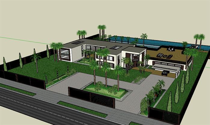 某现代简约临水别墅建筑方案设计su模型[原创]