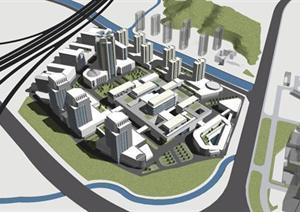 现代商业街建筑设计方案su(草图大师)模型图片