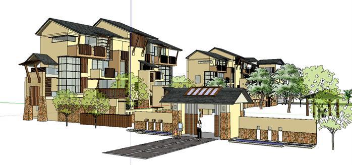 新中式度假住宅别墅建筑设计方案su模型[原创]