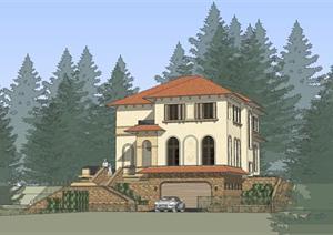 某欧陆式别墅建筑方案设计SU(草图大师)模型