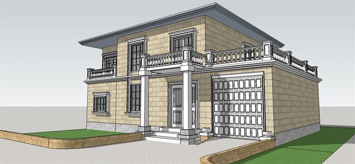 某别墅单体建筑设计方案su模型1