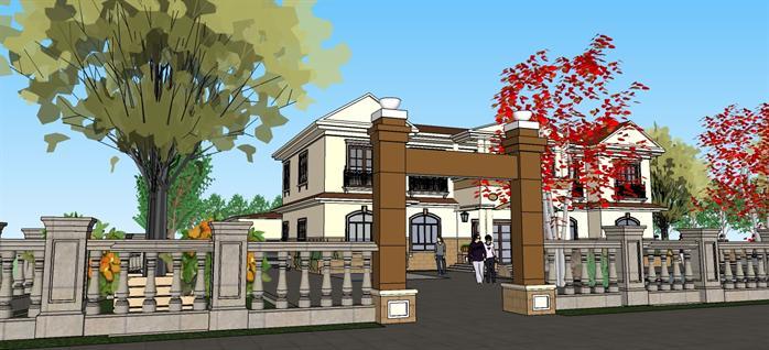 现代中式别墅建筑设计su模型2