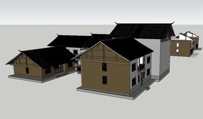 中式木屋商业街建筑sketchup模型[原创]