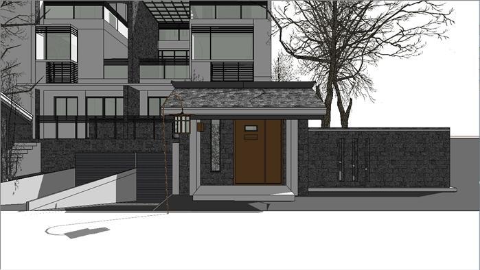 新中式别墅建筑设计方案su模型