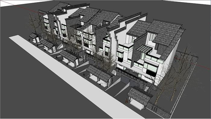 新中式别墅建筑设计方案su模型[原创]