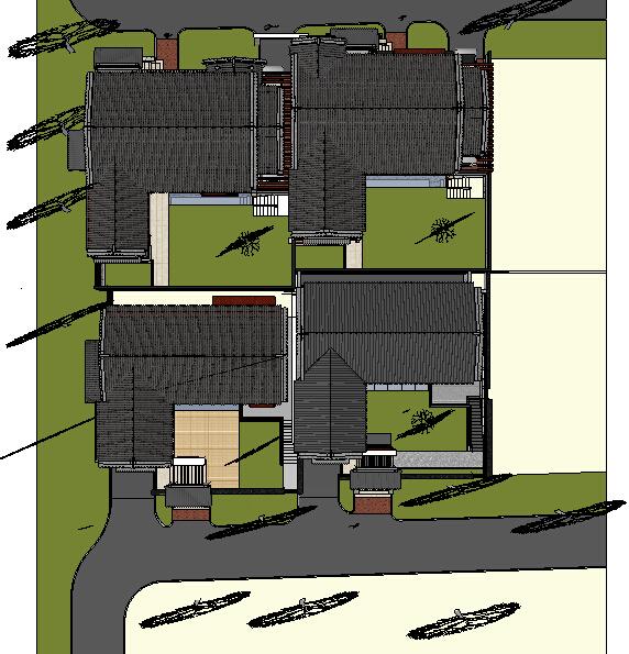 新中式四合院别墅建筑设计方案su模型[原创]