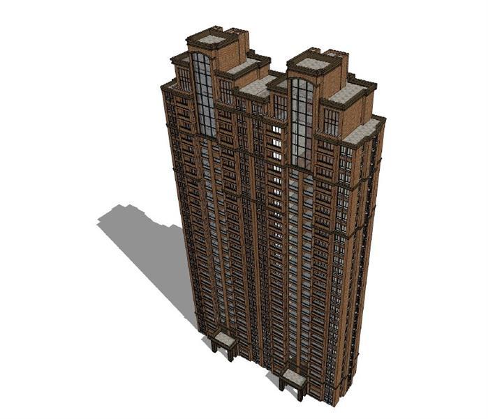 某欧式风格商业街 高层住宅建筑方案设计图(cad su 实景照片)[原创]