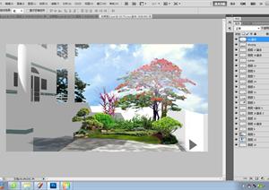 某别墅庭院景观设计效果图