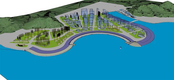 某市滨海建筑景观规划设计图及su模型[原创]