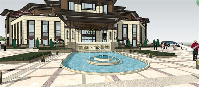 某售楼处建筑设计方案局部效果图(2)-某新古典风格售楼处建筑设计图片