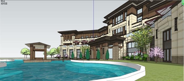 某售楼处建筑设计方案局部效果图(6)-某新古典风格售楼处建筑设计图片