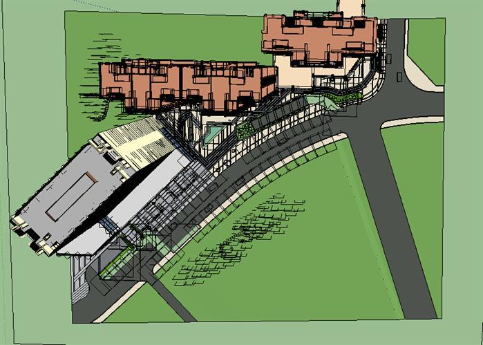 某广场景观设计方案局部效果图顶视图(7)
