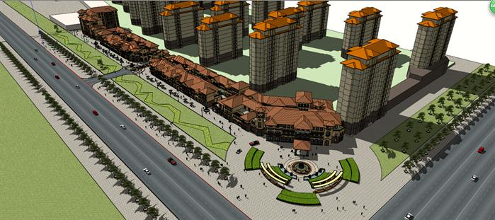某商业步行街建筑设计方案su模型[原创]