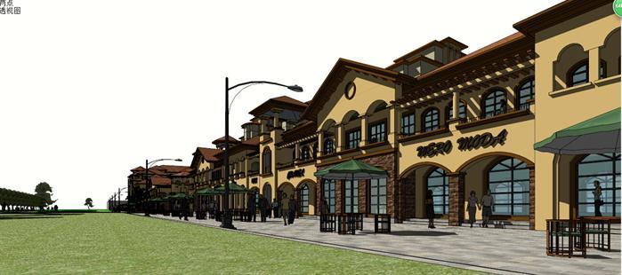 托斯卡纳风格商业步行街局部效果图(4)