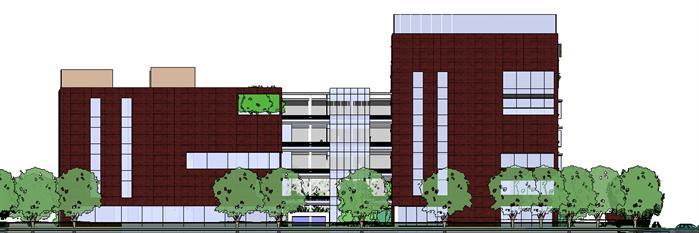 办公区建筑设计方案侧立面图(3)