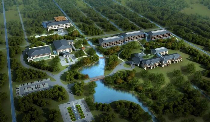 某现代中式风格酒店建筑设计方案图 su模型