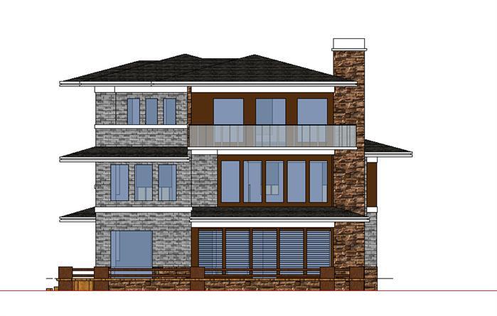 新中式别墅建筑设计方案侧立面图(3)图片