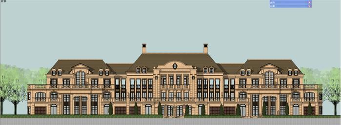 法式长联排别墅建筑设计方案su模型[原创]