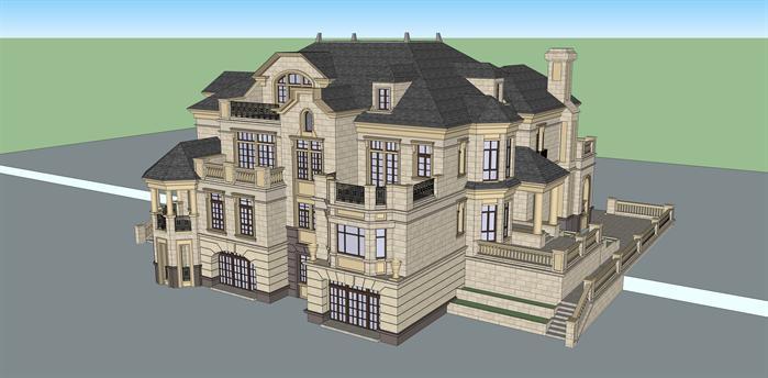 法式双拼别墅建筑设计方案鸟瞰图(2)