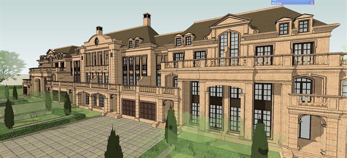 法式豪华别墅建筑设计方案局部效果图 1
