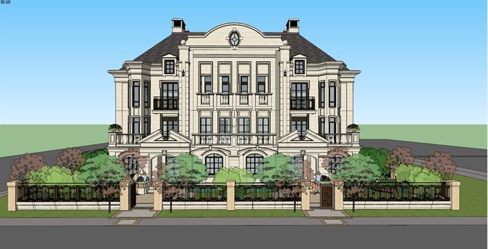 法式联排双拼别墅建筑设计方案su模型