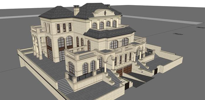 带连廊双拼法式别墅建筑设计方案鸟瞰图(1)