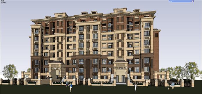 法式小高层住宅建筑设计方案局部效果图(1)图片