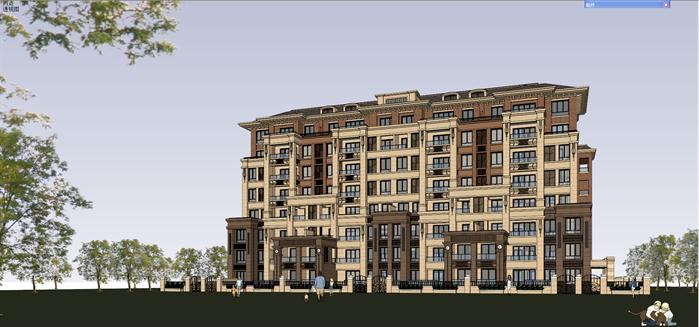 法式小高层住宅建筑设计方案su模型[原创]