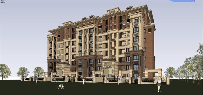 法式小高层住宅建筑设计方案效果图 3