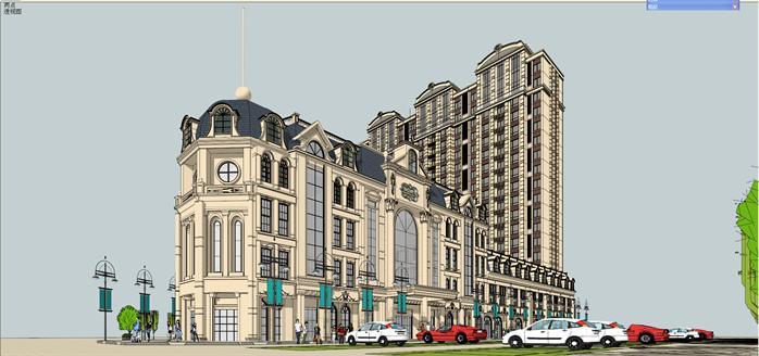 法式商业广场建筑设计方案局部效果图 3