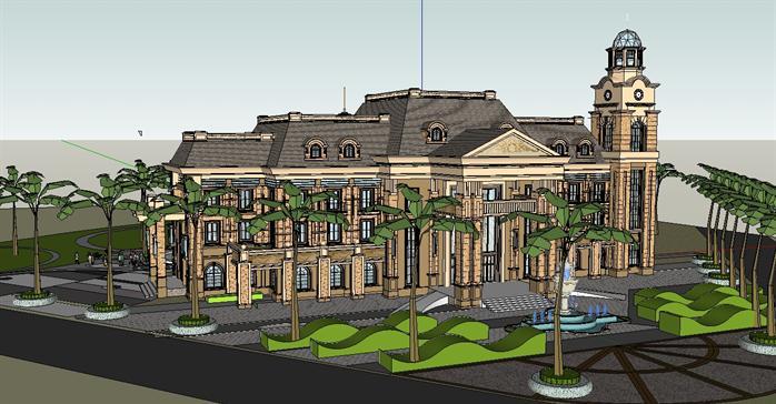 法式別墅建筑設計方案效果圖(1)