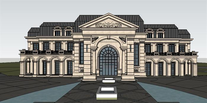 法式风格会所建筑设计方案su模型[原创]