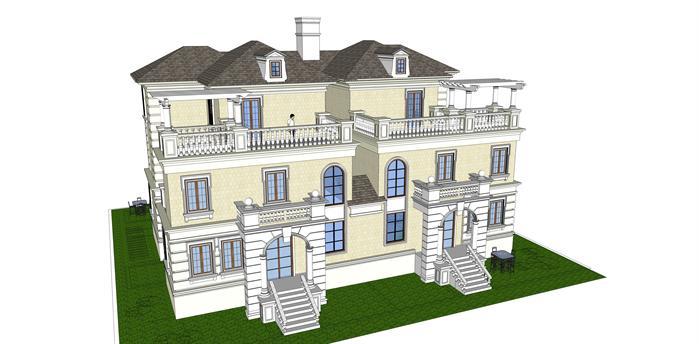 法式双拼户型别墅建筑设计方案su模型[原创]