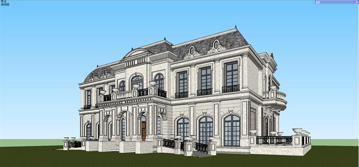 法式宴会厅建筑设计方案su模型[原创]