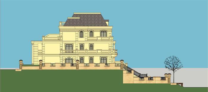 法式临湖联排别墅建筑设计方案侧立面图(2)