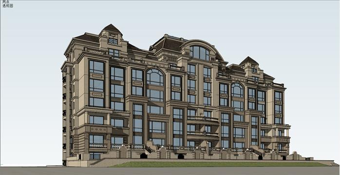 法式小高层洋房公寓建筑设计方案效果图(1)